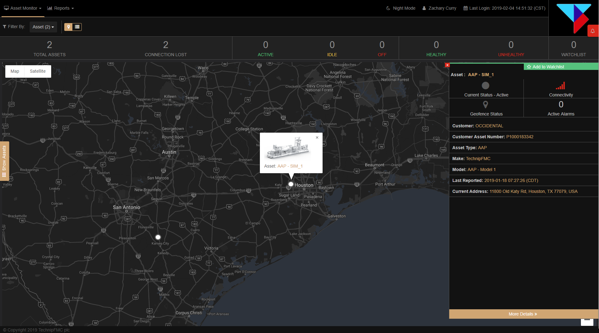 Real-time job and asset dashboard shows location, client, asset health and critical alerts.